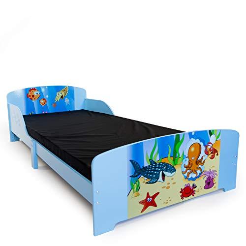 Homestyle4u 1215, Kinderbett 90x200 cm, Spielbett Fische, Holz Blau Bunt
