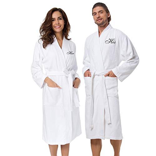 AW BRIDAL Terry Cotton Couple Robe Set Spa Bathrobes for...