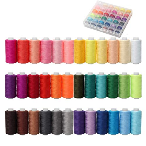 72 piezas Hilo de coser Conjunto, 36 colores, 230 metros por carrete de hilo de poliéster, bobinas preenrolladas con caja, accesorios de costura para máquinas de coser y de mano, bricolaje y hogar