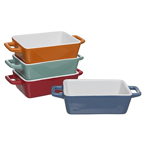 Invero 4X Set of Mini Stoneware Rectangular Coloured Small Oven to Table Baking Dish Ideal for Lasagne, Pies, Casserole, Tapas and More