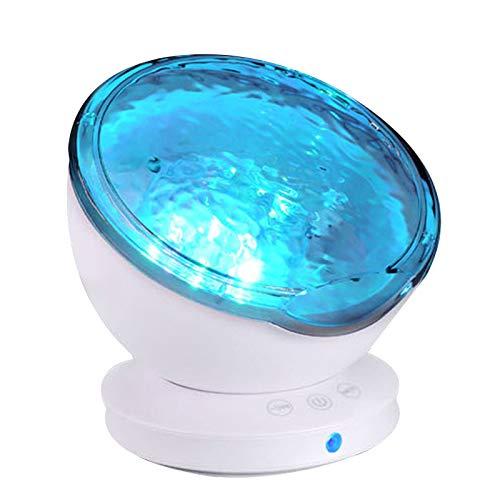 SODIAL Projecteur à Vagues OcéAniques,Lampe de Nuit à 12 LED avec Minuterie 7 Modes D'éClairage Spectacle de LumièRe de Projecteur de Nuit à LED pour BéBé Enfants Adultes Chambre Salon
