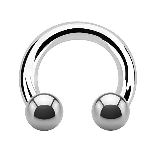 Treuheld® | Großer Hufeisen Piercing Ring | 5mm x 22mm | Kugeln 8mm | Chirurgenstahl | Silber | Circular Barbell für Intim, Ohr, Nase, Brustwarze