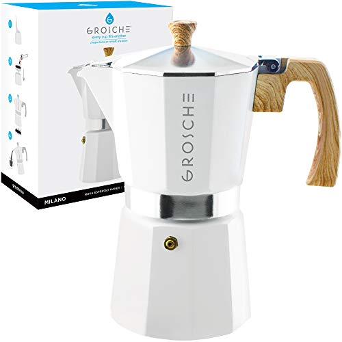 Learn More About GROSCHE Milano Stovetop Espresso Maker Moka Pot 9 Cup- 15.2 oz, White - Cuban Coffe...