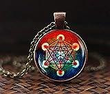 Metatron's - Collar con colgante de cubo de Metatron, collar de geometría sagrada, collar geométrico, joyería para hombres