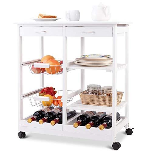 COSTWAY Carrello da Cucina con Ruote Carrello con Due Cassetti Portabottiglie Cestini di Frutta Ripiani in Legno di Pino, 67 x 37 x 75 cm (Bianco)
