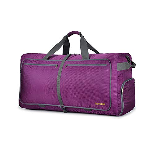 Kundeli 120L Extra Large Travel Duffel Bag, Lightweight Packable Luggage Duffle Bag for Men Women, Waterproof Camping Bags 6 Color Choices (Purple)