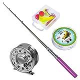 Yogayet Mini Pocket Ice Fly Fishing Rod and Reel Combos Set Aluminum Alloy Pen Fishing Pole 38'' Sea Saltwater Freshwater Kit Purple
