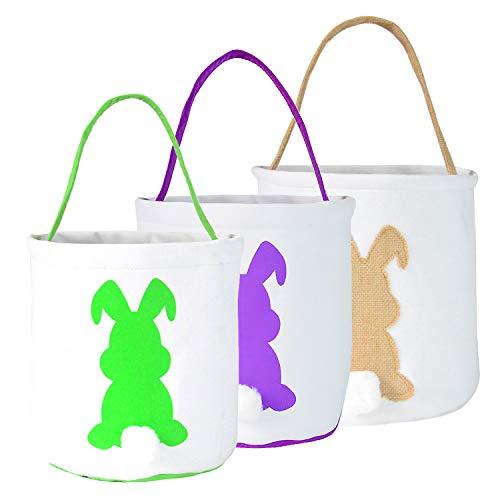 Huttoly Paashaas-tassen, 3 stuks, paashazen, manden konijnenoren design, jute stof draagtassen voor kinderen, eieren, jacht, snoep en cadeaus, carry bucket at easter party