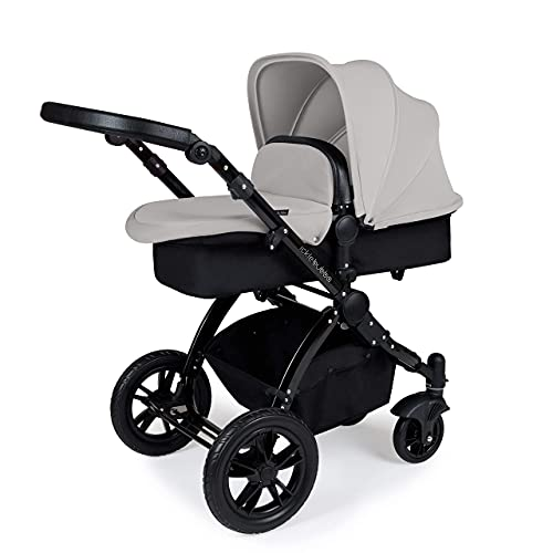 Ickle Bubba Stomp V3, All-in-one Travel System: Includes carrycot, Reversible Pushchair, Galaxy Group 0+ car seat with Isofix Base (Silver with Black Handles, Black Chassis)