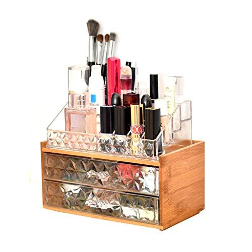 LDG kunststof make-up organizer, kristal dubbele lade nanmu opbergdoos voor oogschaduw cosmetica bewaren
