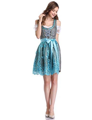 KOJOOIN Trachten Damen Dirndl Kurz - Midi Trachtenkleid für Oktoberfest - DREI Teilig: Kleid, Bluse, Schürze EIS-Blau 38/L