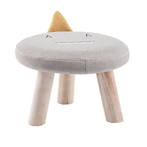 Taburete para niños con diseño de animales, de madera maciza, de dibujos animados, para el hogar, pequeño banco (color: gris)