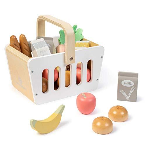MUSTERKIND Einkaufskorb Carum aus Holz für Kaufladen und Kinderküche