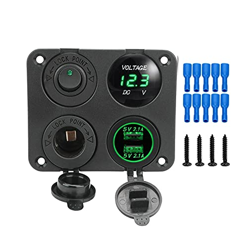 ZXIAOSTORE 12V 4 en 1 coche Doble USB cargador de enchufe encendedor de cigarrillos panel de interruptores impermeable con voltímetro digital potencia con interruptor de balancín ( Color : B Green )