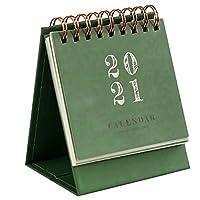 2021年 カレンダー 卓上 ミニサイズ 携帯可能 安定 耐用 卓上カレンダー デスクトップ計画カレンダー 作業スケジュール帳 おしゃれで可愛い 人気商品 (濃い緑色)