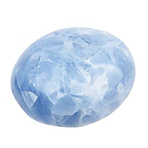 June&Ann Natural Celestite Palm Stones, Healing Gemstone Therapy Worry Crystal Stones for Meditation Chakra Balancing Collection, Irregular Shape