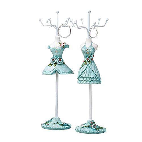 Ysoom Ohrringe Schmuckständer Elegantes Mädchen Blau Rock Styling Schmuck Display Halter Ausstellungsstand Armband Halskette Ring Halterung 2pcs