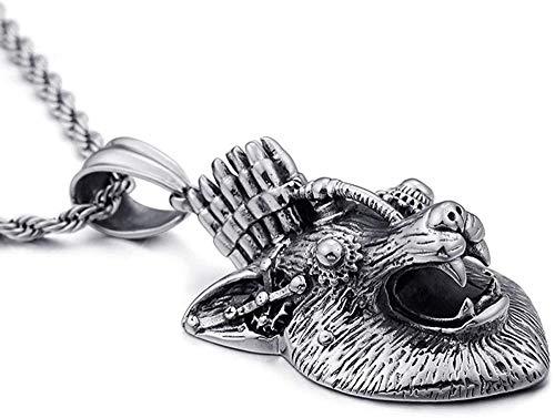 NC110 Collar de Cabeza de Lobo mecánico dominante Europeo y Retro, Collar de Cadena de suéter de Animal de Metal con Personalidad de Moda