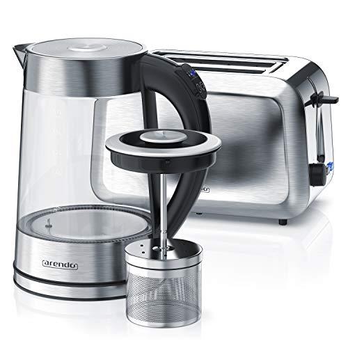 Arendo - Edelstahl Glas Wasserkocher mit Teesieb u wählbaren Temperaturstufen 1,7 L und 2 Scheiben Toaster in Edelstahl Langschlitztoaster 750W
