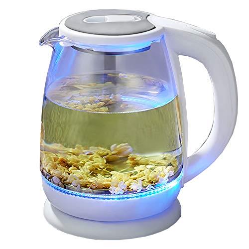 Bouilloire électrique Verre Bouilloire 1.8L avec éclairage à LED Protection anti-ébullie sans BPA pour la condition familiale