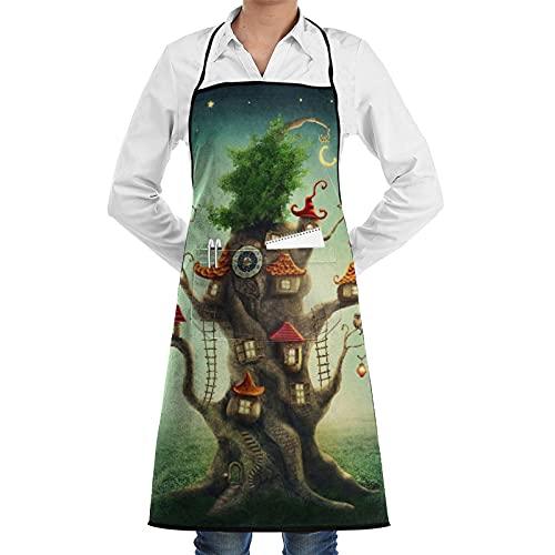 COFEIYISI Delantal de Cocina Reloj Casa del árbol mágico de cuento de hadas en la pradera Aventura Delantal Chefs Cocina para Cocinar/Hornear