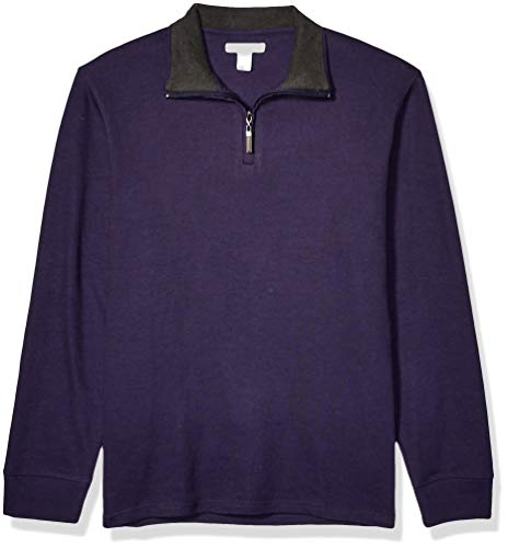 Amazon Essentials Men's Quarter-Zip French Rib Sweater, Navy, Large