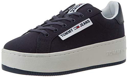 Tommy Hilfiger Oversized Label Icon Sneaker, Zapatillas para Mujer, Azul (Twilight Navy C87), 37 EU