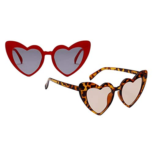Colcolo 2 Piezas de Gafas de Sol con Montura de Corazón para Mujer, Disfraz de Fiesta de Verano, Ropa de Calle