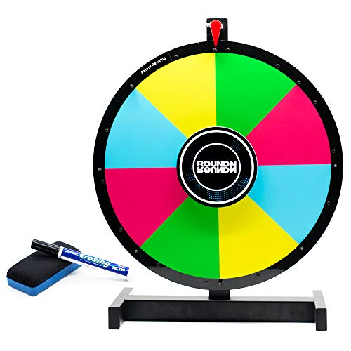 Prize Wheel | Reversible 2 Sided | 18' Inch Spinning Prize Wheel with Heavy Duty Tabletop Stand | Round Spin Wheel for Prizes | Color Dry Erase Tradeshow Raffle Game Spinner