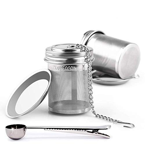 House Again Tea Ball Infuser & Cooking Infuser, Extra Fine Mesh Tea Infuser Threaded Connection (2 Pack with Scoop)