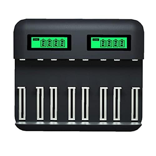 Cargador de batería inteligente 8-ranura USB AA AAA C D Carga rápida con pantalla LCD, mantenedor de batería, cargador de goteo