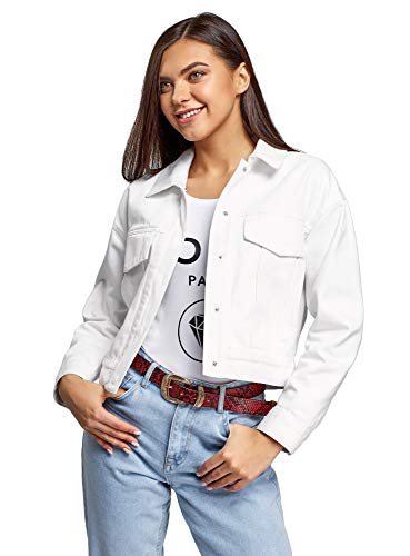 oodji Ultra Damen Jeansjacke mit Druckknöpfen, Weiß, DE 38 / EU 40 / M