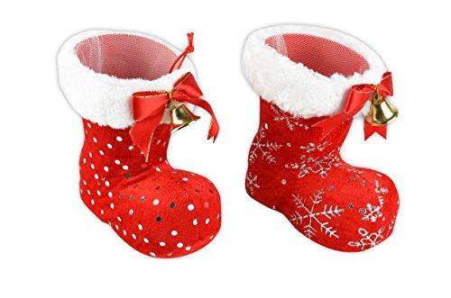 * Nikolausstiefel in vielen Größen und Farben   Dekostiefel Geschenkstiefel Adventsstiefel Weihnachtsstiefel   winzig bis riesengroß (S   2 x Stiefel mit samtigem Stoffüberzug + Glocke)