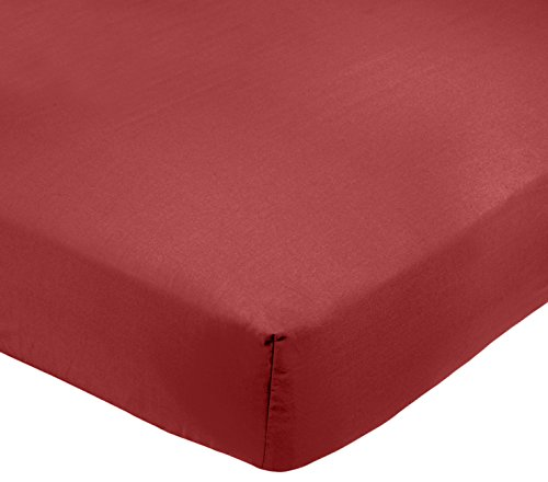 Amazon Basics AB 200TC Poly Cotton, Combinación de algodón, Burdeos, 90 x 190 x 30 cm
