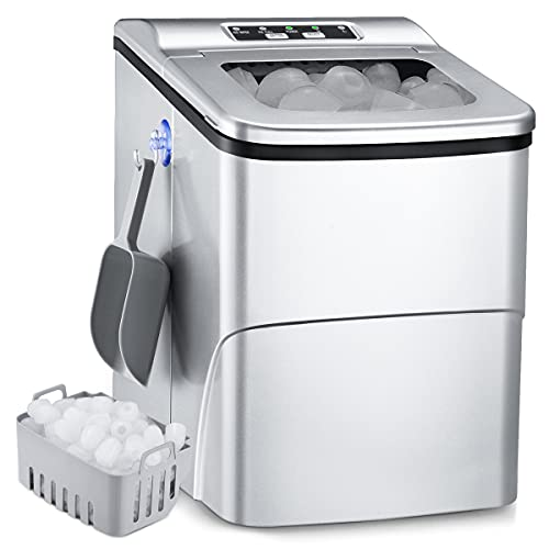 Portable Ice Maker, 26Lbs/24H Self-Cleaning Ice Maker Machine for Countertop, 9 Ice Cubes S/L in 6mins Ice Maker Machine, 2L Ice Cube Maker with Ice Scoop Basket, Hook