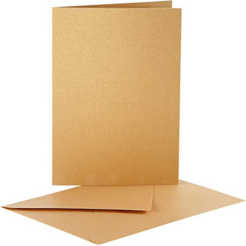 Creativ Company Cartes nacrées et enveloppes, dimension carte 10,5x15 cm, or, 10 set