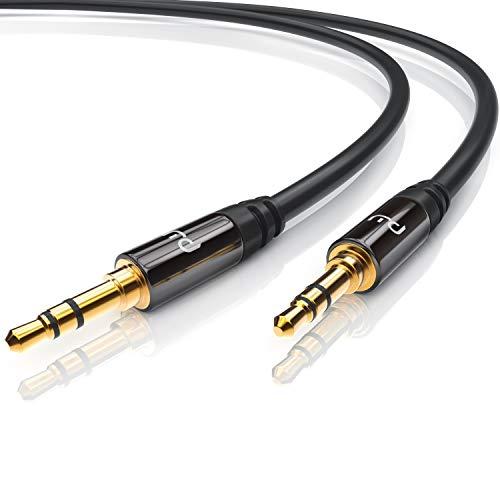 CSL - 5m Audio AUX Klinkenkabel Verbindungskabel für AUX Eingänge - Voll-Metallstecker passgenau - 3.5mm Stecker auf 3.5mm Stecker - 3,5mm Audiokabel HQ Premium Series