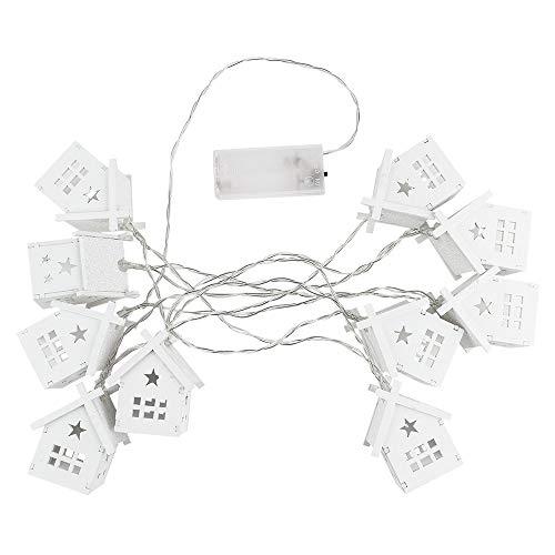 LED-Häuser-Lichterkette, 10 LED-Lämpchen, warmweiß, batteriebetrieben, Kabellänge: 210 cm