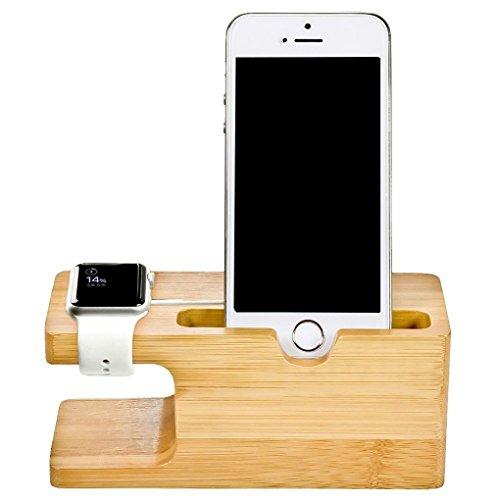 teng hong hui Soporte de bambú para Reloj 38 / 42mm Cuna de Cuna para Soporte Dock para teléfonos Tarjetas de Visita Ranura Estación de Carga Soporte