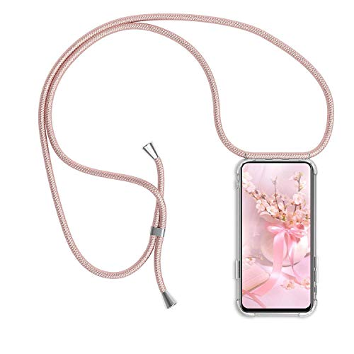 Funda Colgante movil con Cuerda para Huawei P8 Lite 2017, Carcasa Transparente de TPU con Ajustable Cordón [Anti-Choque] Anti-rasguños Suave Silicona Caso - Oro Rosa