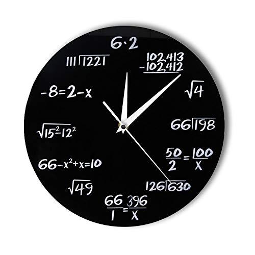 yage Números de ingeniería Reloj de Pared matemático Ecuación matemática Reloj Decorativo Pop Quiz Arte de la Pared Regalo de Ciencia para Geeks y Maestros de matemáticas