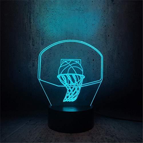 LBJZD luz de noche Baloncesto Deporte Dunk Disparar Una Canasta Lámpara 3D Luz De Noche Luz Led Multicolor Decoración Navideña Luminary Niños Niño Con Mando A Distancia