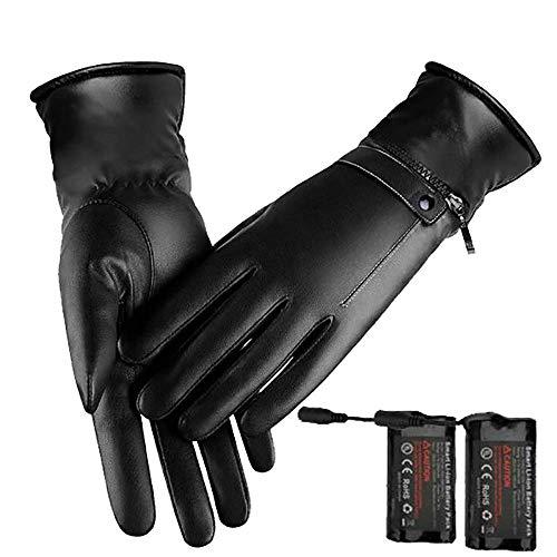 XRZY YXZQ wasserdichte Thermohandschuhe, beheizte Handschuhe, wiederaufladbare elektrische Batterie Skifahren Vollfinger-Touchscreen Gewaschenes Leder Dicker Plüsch zum Warmhalten