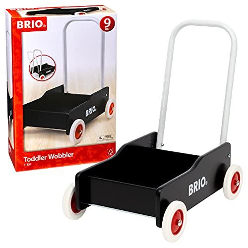 BRIO - 31351 - Chariot de marche noir - En bois FSC - Avec roues en caoutchouc antidérapantes - Fonction frein - Jouet pour enfant à partir de 9 mois