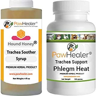 Trachea Soother Syrup Bundle with Trachea Support: Phlegm Heat - Natural Herbal Remedy for Symptoms of Collapsed Trachea for Dogs - Combo of (1 Bottle) 5 fl oz Syrup & (1 Bottle) 100 Grams Powder…