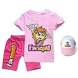 Fun Squad - Juego de camiseta + pantalones cortos + sombrero de sol, unisex de moda divertido para niños y niñas, rosa, 170