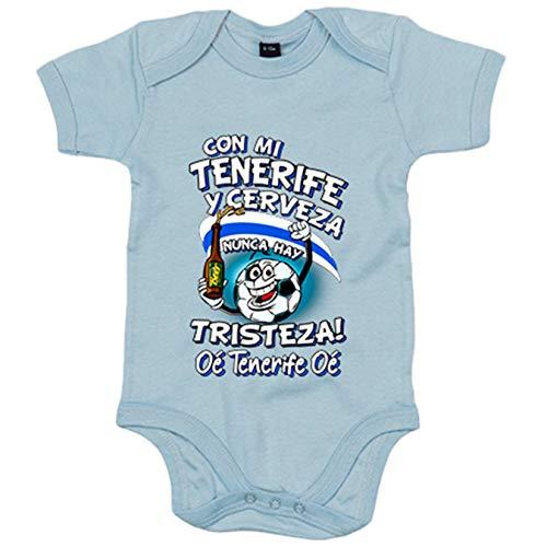 Body bebé frase con mi Tenerife y cerveza nunca hay tristeza fútbol - Celeste, 6-12 meses