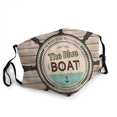 Bandana riutilizzabile a mezza faccia,Ancoraggio del timone Pannello di tavola di legno nautico,Coprivaso sportivo regolabile