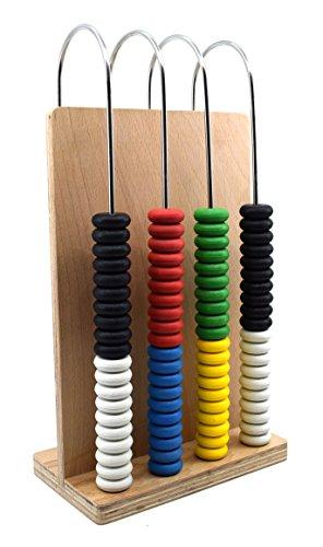 ABACUS 4 U-förmige Stahldrähte, Holzrahmen, Arithmetisches Lern- und Rechenwerkzeug für Schüler und Lehrer - Eisco Labs