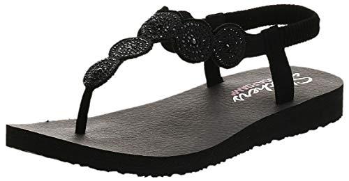 Skechers Women's Meditation-Stars & Sparkle Flip-Flop, black/black, 11 M US